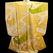 Yellow Silk Satin Japanese Furisode Kimono with Embroidered Peacocks.