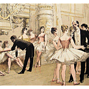 SALE PENDING Antique Signed French Magazine Ballet Engraving 'Le Foyer de la Danse' 1885 Rare.