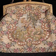 Unique  Art Deco French Tapestry Cupids Evening Purse/Bag.