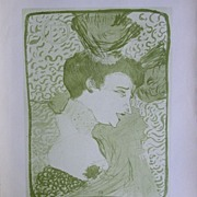 SALE Toulouse-Lautrec Lithograph ~Portrait of an Actress~Limited Edition 1927