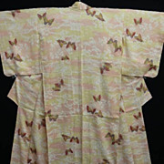 SALE Stunning Hand Painted Art Deco Peach/Cream Silk Kimono with Butterflies
