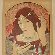 Art Nouveau Original French L'Estampe Moderne Lithograph 'Invocation a la Madonna' 1897 by Lenoir.