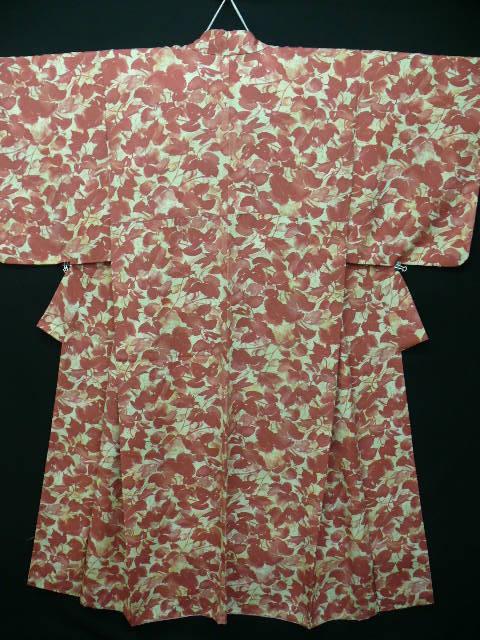 Pure Silk Crepe rust and cream Autumn Leaves Kimono c 1930