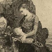 SALE Original Victorian Engraving  ' Head of Orpheus'  1892.