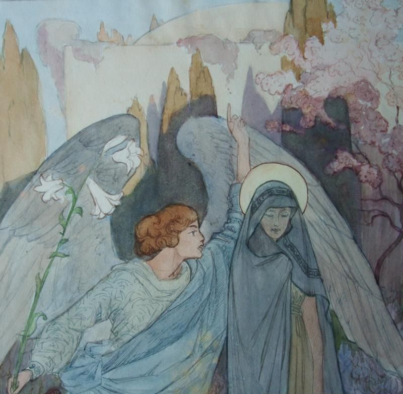 Rare and Beautiful Original  Signed  Water Color and Ink  'The Annunciation'  1918.TO DIE FOR