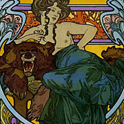 SALE Stunning  Rare English Mucha Poster c1960 'La Dame L'Ours'.