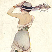 Saucy Art Deco French Artist Signed Postcard 1918.