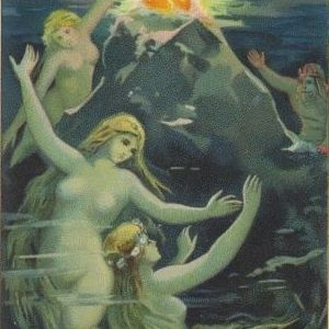 German Mermaid Postcard c1900. 'Rheingold'
