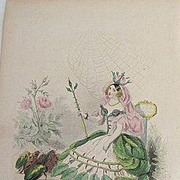 Signed Grandville French Engraving 'Rose' 1867 from Les Fleurs Animees.