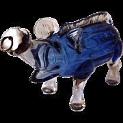 SALE Blue Glass Wild Boar Gin Flask