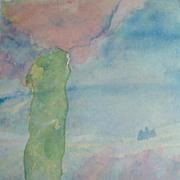 SALE Watercolour: Diarmid's Pillar - Glen Lonan: The Power of the Stone