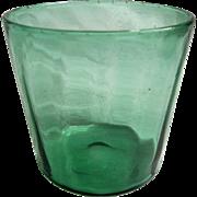 SALE Green Glass Hand-blown Rinser