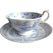 SALE Blue and White C19 Willow Pattern Cup and Saucer