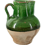 French 19th Terra-cotta Glazed Water Pitcher