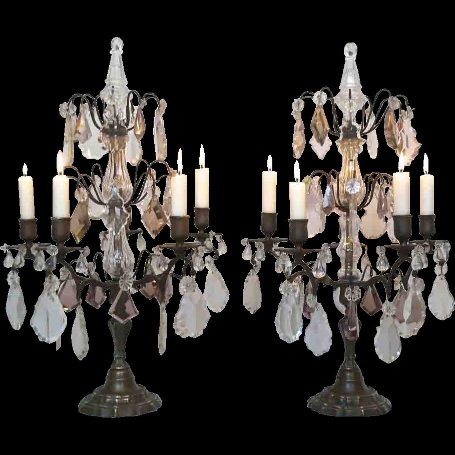 Pair of French Louis XVI Style Candlelit Girandoles