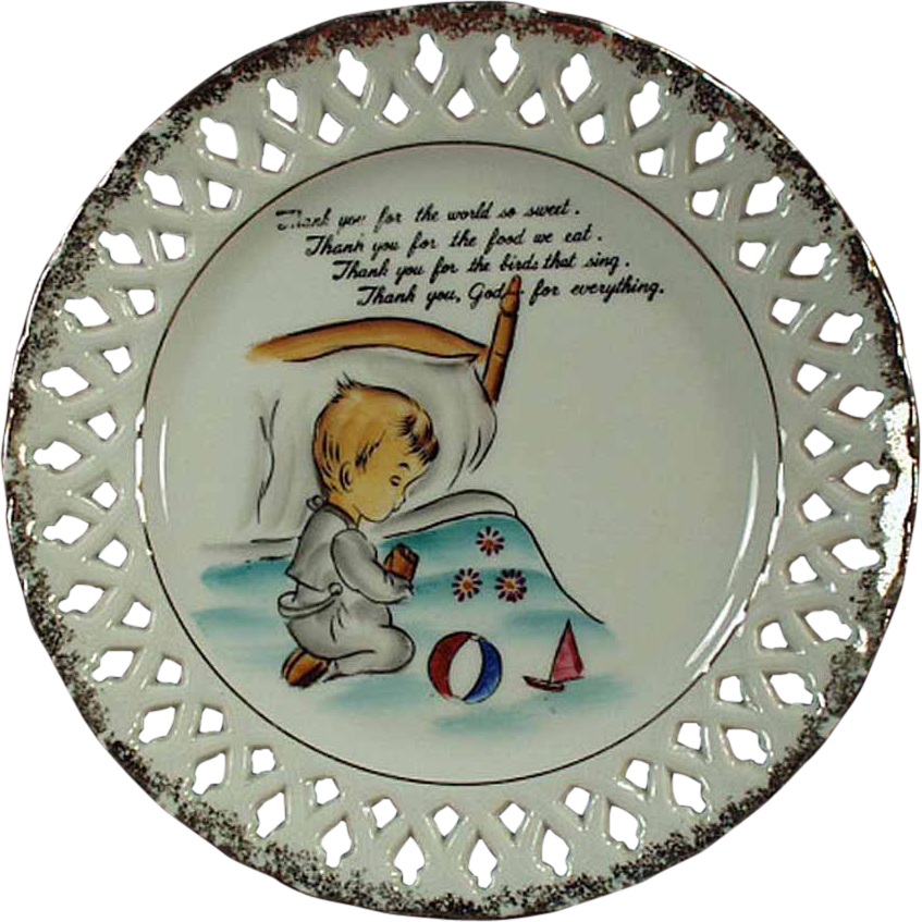 Old Hanging Plate with Child's Bedtime Prayer