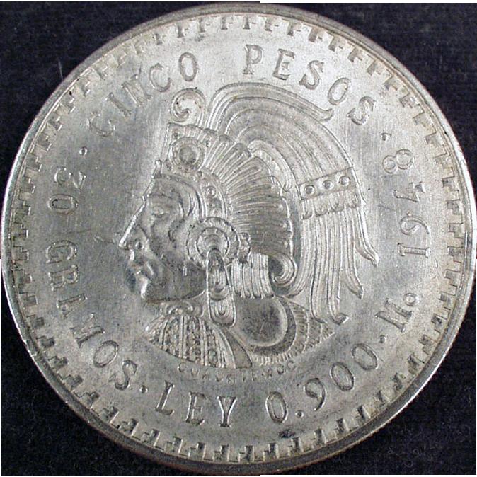 Mexican - 1948 Cinco Pesos, Silver Coin