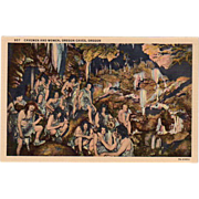 Old, Oregon Caves Souvenir Postcard - Cavemen and Women