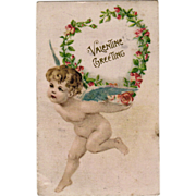 SALE Old, German Valentine Postcard with Cherub