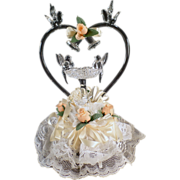 Old, Blown Glass, Wedding Cake Topper with Love Birds & Bells