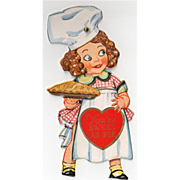 SALE Old, Mechanical Valentine with Little Girl Baker