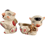 Old, Pottery Lamb, Cream & Sugar Set with Decals and Gold Accents