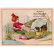 Old Trade Card - Cute Tug-o-War Scene