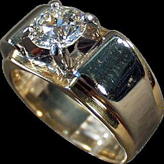 14k Gold & Palladium, Man's Diamond Ring - 1.85 Carat