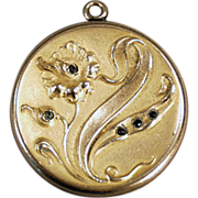Old Picture Locket with Art Nouveau, Floral Design & Stones