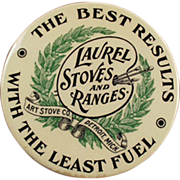 Old, Celluloid Advertising Mirror - Laurel Stoves