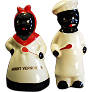 Old, Black Memorabila, Salt & Pepper Set - Mammy & Chef, Virginia Souvenir