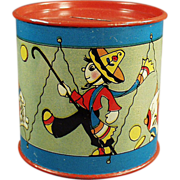 Old, Toy Drum, Tin Bank with Fun Graphics by Fern Bisel Peat