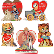 SOLD Old Valentines - 5 Different - Small and Very Cute