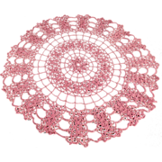 Old, Pink Colored, Crocheted Doily