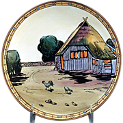Old Morimura - Nippon Hanging Plaque - Cottage with Chickens