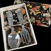 Baby's Old, Silver Plate Flatware Set - Little Miss Muffet