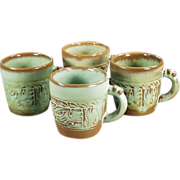 Old Frankoma - 4 Mayan-Aztec Coffee Cups in Green Glaze