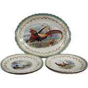 Old, Sterling China, Bird Set - Colorful Platter & 4 Plates
