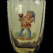 Old Cider Glass - Nice Painted Enamel Elf Design