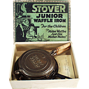 Child's Old, Stover Junior Waffle Iron with Original Box