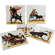 Set of Five, Old Art Tiles with Bullfighting Scenes