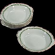 5 Old Dessert Dishes - Royal Saxony -  Green Ivy Trim