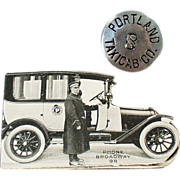 Old, Portland Taxicab, Driver's Hat Badge with Original Rate Card