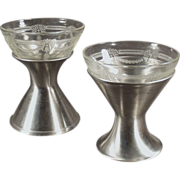 Old Sherbet Dishes - Depression Glass with Metal Holders