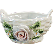Old, Porcelain Basket with Applied Rose and Flowers - German