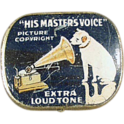 Old, Phonograph Needle Tin - His Master's Voice - Blue