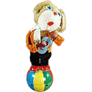 Old Wind-up Toy - Plush Dog Playing Musical Guitar