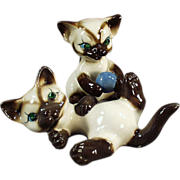 Old, Siamese Kitten Figurines - Rhinestone Eyes