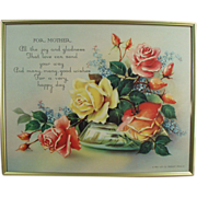 "Old, Framed, Motto Print - ""For Mother!"" with Roses"
