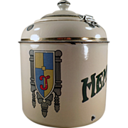 Old, Porcelain Malt Canister - Thompson's Hemo with Hinged Lid